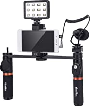 Viewflex Smartphone Video Kit VF-H7 Phone Video Rig Grip with Camera Microphone and LED Video Light for iPhone XR Xs Max 7 8 Plus 6,Samsung Galaxy,LG Cellphone Mic for Vlogging Recording