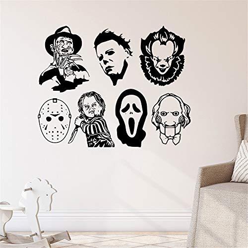Feliz Halloween Película de terror Personaje Demon Ghost Head Máscara Joker Zombie Death Decal Vinilo Arte Etiqueta de la pared Regalo para niños Sala de estar Dormitorio Decoración para el hogar