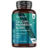 Calcio, Magnesio, Zinc y Vitamina D3 Vegana Dosis Alta 400 C