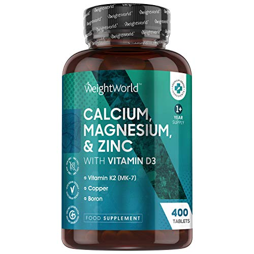 Calcium, Magnesium, Zinc & Vitamin D Tablets - 400 Tablets (Over 1 Year Supply) - Multimineral Complex with Copper & Vitamin K, High Strength Relief for Bones, Hair, Joint Care, Skin & Immune System