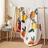 Manta de Microfibra Color sólido, Extra Suave Mantas para Sofás, Multifuncional para sofá, Cama, Viajes, Adultos, niños -Naranja_200 * 230cm