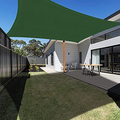 DANYCU Toldo rectangular de tela Oxford, antiUV, para verano, exterior, impermeable, para patio, jardín, césped, pérgola, cochera, color verde oscuro, 2 × 4 m