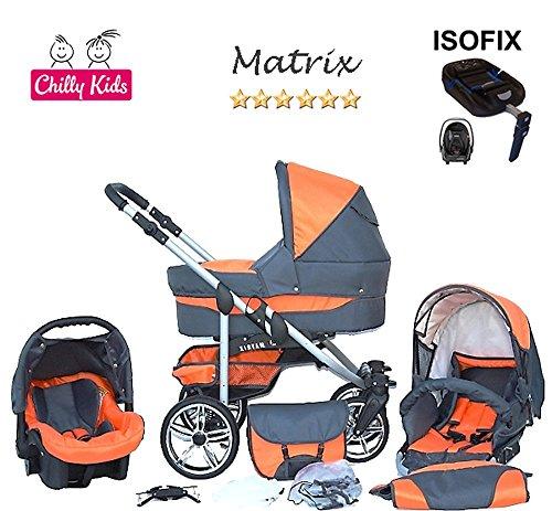 Chilly Kids Matrix 2 poussette combinée Set – hiver (chancelière, siège auto & ISOFIX, habillage pluie, moustiquaire, roues pivotantes) 11 graphite & orange