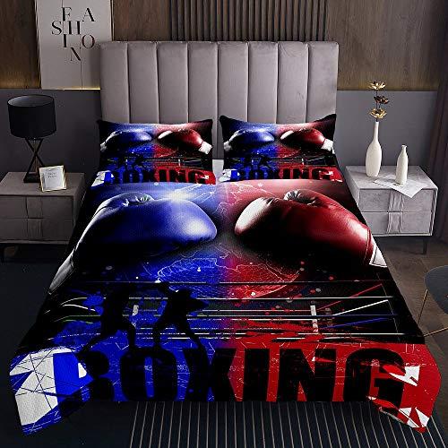 Homewish Juego de ropa de cama con guantes de boxeo, juego de ropa de cama para hombres y adultos, tamaño individual