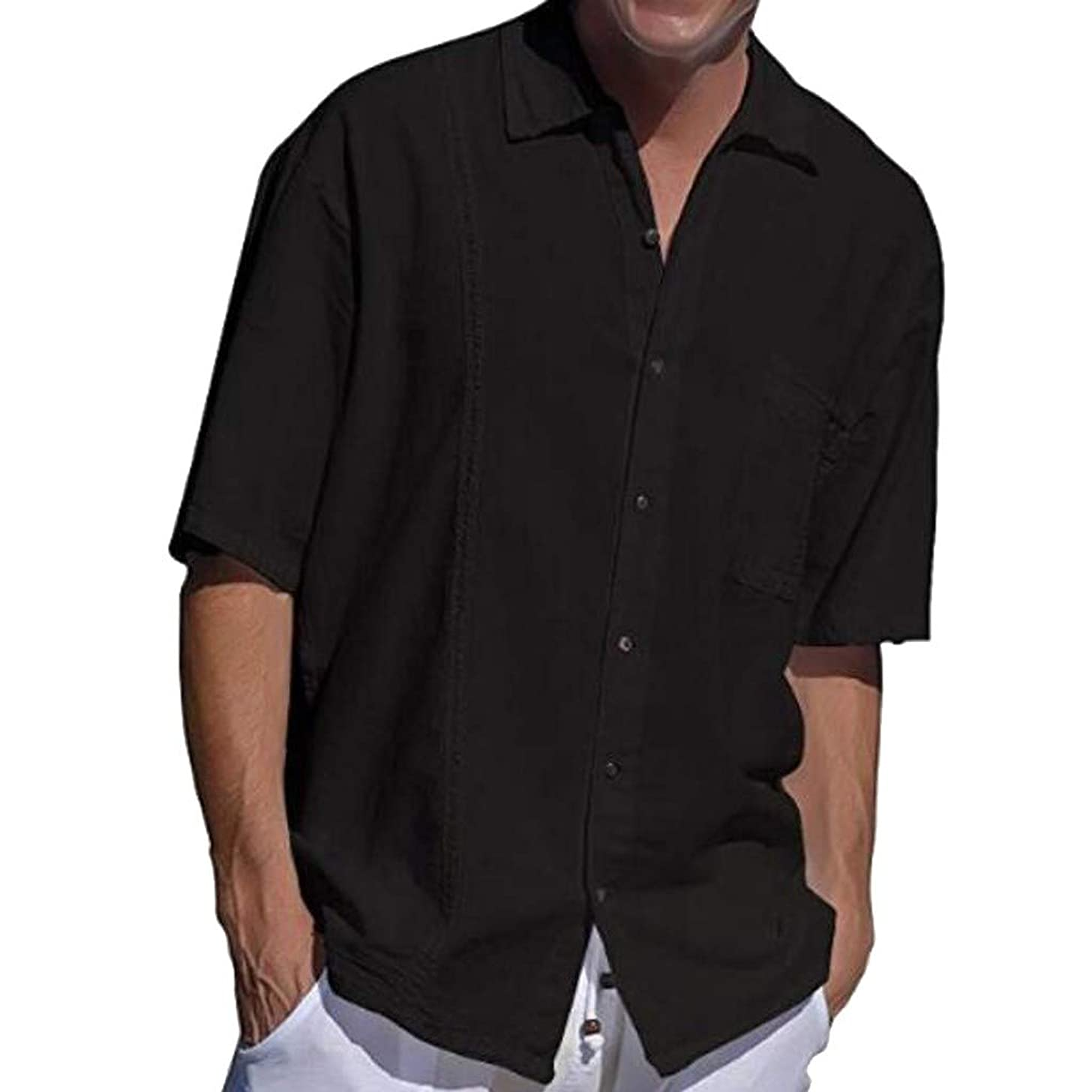 Ghazzi Men Top Men Shirt Summer Linen Cotton Pocket Button Blouse Lapel Short Sleeve Fashion Shirt