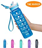 Fidus 32oz Leakproof Tritran BPA Free Water Bottle with Motivational Time Marker & Straw to Ensure You Drink Enough Water Daily for Fitness, Gym and Outdoor Sports-Blue