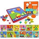 BeebeeRun 37 Piezas 3D Tablero de Mosaico Infantiles, Botón de Rompecabezas Geométrico Juguete Educativo de Primera Infancia Regalos Infantiles para niños y niñas 3 4 5 años de Edad