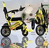 7 Colors (XL) EAONE No.1D9X, Best Rated Exclusive Folding Lightweight Motorized Electric Wheelchair, All Terrain Dual 500W Motors, Heavy-Duty, Power Wheelchair(21.5'' seat Width)(Yellow)
