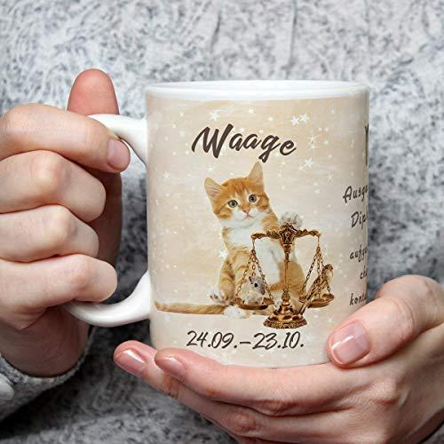 Geschenk Tasse Katze lustig mit Spruch Sternzeichen Waage Katzenmotiv Geburtstagsgeschenk für Katzenliebhaber Geburtstag Frauen Freundin