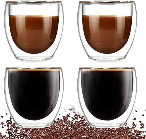 Double Walled Glass Coffee mugs Set of 4 Glass Tea Cup 8oz 250ml Insulated Coffee Cups Perfect product image