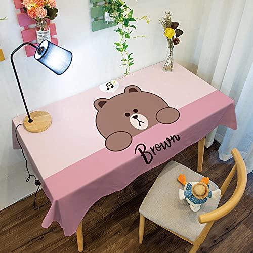 Mantel de mesa, camino de mesa, mantel para exterior, cubierta para mesa de cocina, para exterior, decoración, hotel, banquete, fiesta, color rosa, 130 cm x 180 cm