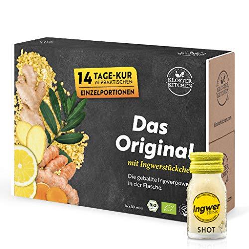 Testsieger Ingwer Shots - 14er Pack Kloster Kitchen Bio IngwerTRINK Shot 30ml, 14x 30ml Ingwer Shot in EINWEG Glasflaschen, über 17 Prozent Ingwerstückchen, bio und vegan