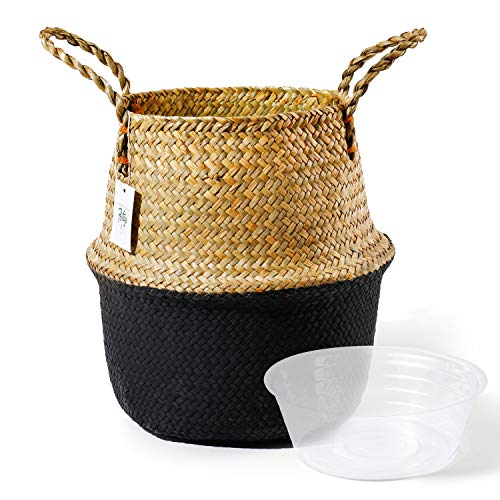 Handwoven Seagrass Plant Basket W/ Plastic Shell $9.00 (50% OFF Coupon)
