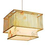 SHUANF Araña con Estampado de Estilo Chino Lámpara Colgante de Linterna de bambú Lámpara Colgante de ratán Natural Tejida a Mano Accesorio de iluminación Decorativo Interior Creativo Cuadrado E27
