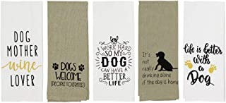 """Cute Dog Kitchen Towels Set of 5 Printed Cotton 16"""" x 28"""""""