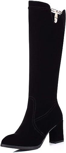 HBDLH Chaussures pour Femmes Dur Au Pied Tête Ronde La La Hauteur du Talon De 7 Cm Terrain Velvet Noir Cylindre Loisirs des Bottes Hautes  bénéfice nul