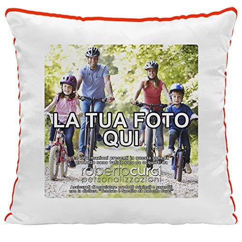 Cuscino Personalizzato con Foto, con Imbottitura, Quadrato, 40 x 40 cm, Colore a Scelta - Rosso