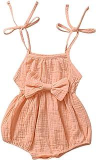 cover Baby Mädchen Strampler Spaghettiträger Body Baby Einfarbig Babybody mit Bogen Baumwolle Leinen Bodysuit Kurz
