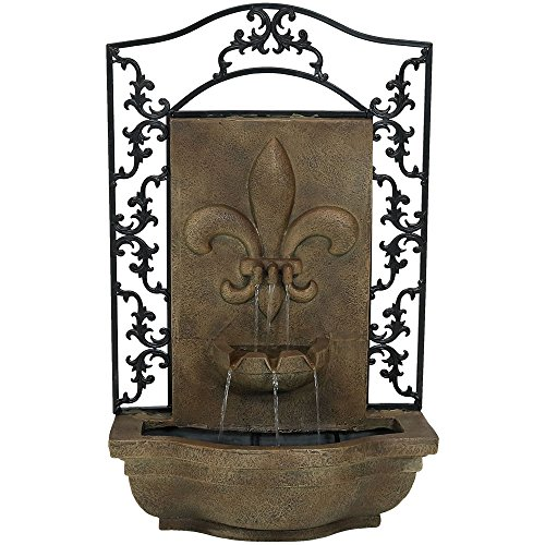 Sunnydaze French Lily Outdoor Wall Water Fountain - Waterfall Wall Mounted Fountain & Backyard Water Feature with Electric Submersible Pump - Florentine Stone Finish - 33 Inch
