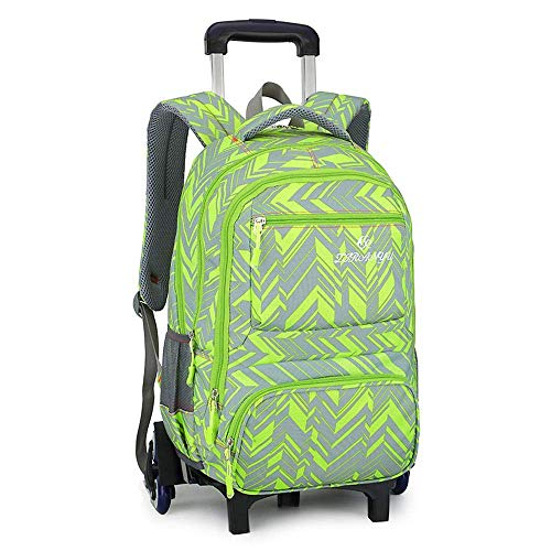 Children's Schoolbag Rolling Backpack Luggage Wheeled Backpack Trolley School Bags for Boys Teenagers Schooling Travel - S. Jialele (Color : Green, Size : 2 Wheels)