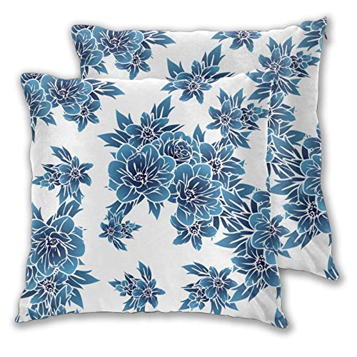 ZELXXXDA 3D Print Throw Pillow Cover Case,Plants Herbs And Flowers On White Background,Modern Pillowcase for Sofa Couch Bed Car Set Home Decor 18'x 18' Pillowcase Cushion Covers Zipper 2pcs