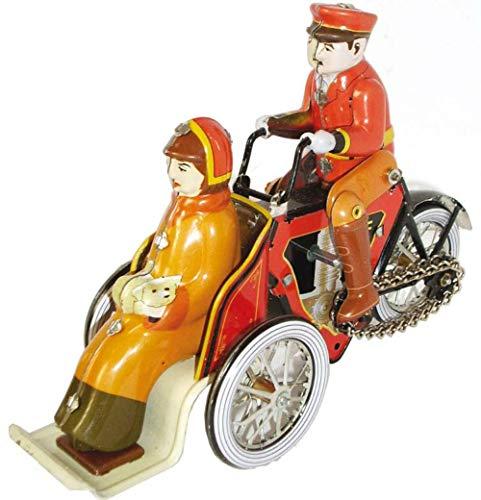 CAPRILO Juguete Decorativo de Hojalata Moto Sidecar Delantero Vehículos de Cuerda. Juguetes y Juegos de Colección. Regalos Originales. Decoración Clásica.