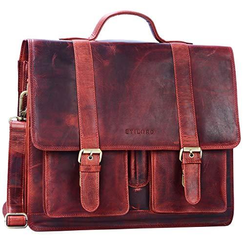 STILORD 'Marius' Klassische Lehrertasche Leder Schultasche XL groß Aktentasche zum Umhängen Businesstasche Laptoptasche echtes Rindsleder, Farbe:Kara - rot