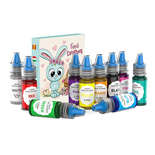 JIM'S STORE Colorante Alimentario 10*6ml, Set de Colorante Alta Concentración Liquid para...