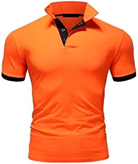 New Men's Polo Shirts Short Sleeve, Contrast Color Regular Fit T-Shirts Fashion Casual Tee Top (Color : D, Size : 5XL)