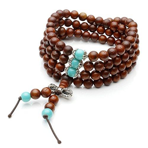 Top Plaza Unisex 108 Natural Wood 6mm 8mm Beads Bracelet Meditation Buddhist Rosary Mala Necklace (6mm Cat's Eye Sandalwood #1)