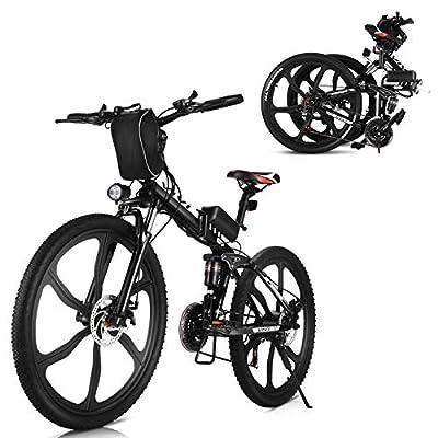 "VIVI 26"" 350W Folding Electric Mountain Bike 36V 8AH Removable Battery Double Hydraulic Disc Brake Aluminum Alloy Frame Integral Wheel E-Bike for Adult (Black)"