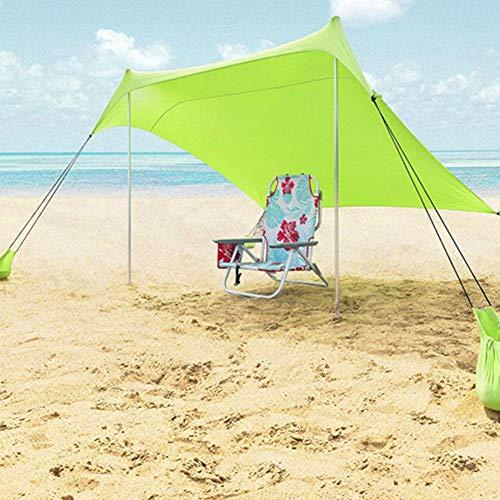 Corwar 210 170 cm Sonnensegel Camping Plane wasserdichte Zeltplane Sonnenschutz Sun Shelter Außenzelt mit 4 Ankersandsäcken und Stangen für Camping Outdoor Wandern Bergsteigen Picknick,Grün