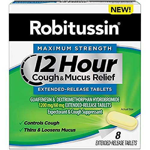 Robitussin Tablet 12 Hour Cough & Mucus Relief Extended-Release, Controls Cough, Thins & Loosens Mucus, Alcohol Free, 1 Capsule Every 12 Hours, 8Count