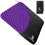 Purple Gel Seat Cushion for Long Sitting with Nonslip Cover - Egg Seat Cushion for Tailbone, Back, Sciatica Pain Relief – Double Purple Seat Cushion for Office Chair, Car, Wheelchair, Long Trips