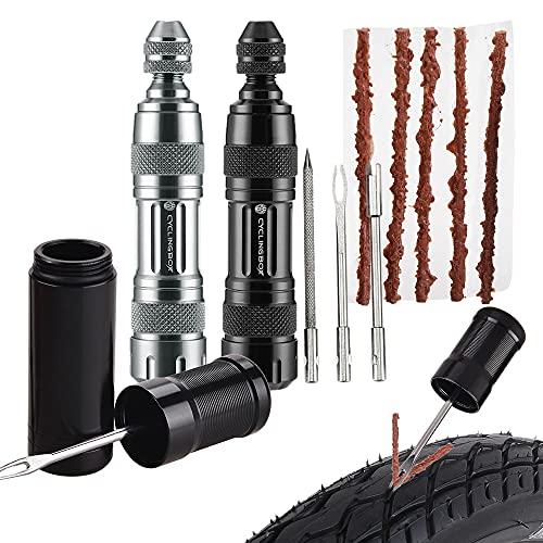 BAITENG Kit de reparación de neumáticos sin cámara para Bicicletas Taladro de neumáticos Tiras de Goma Sellador de pinchazos de neumáticos Herramientas de reparación de Bicicletas Silver ToolB