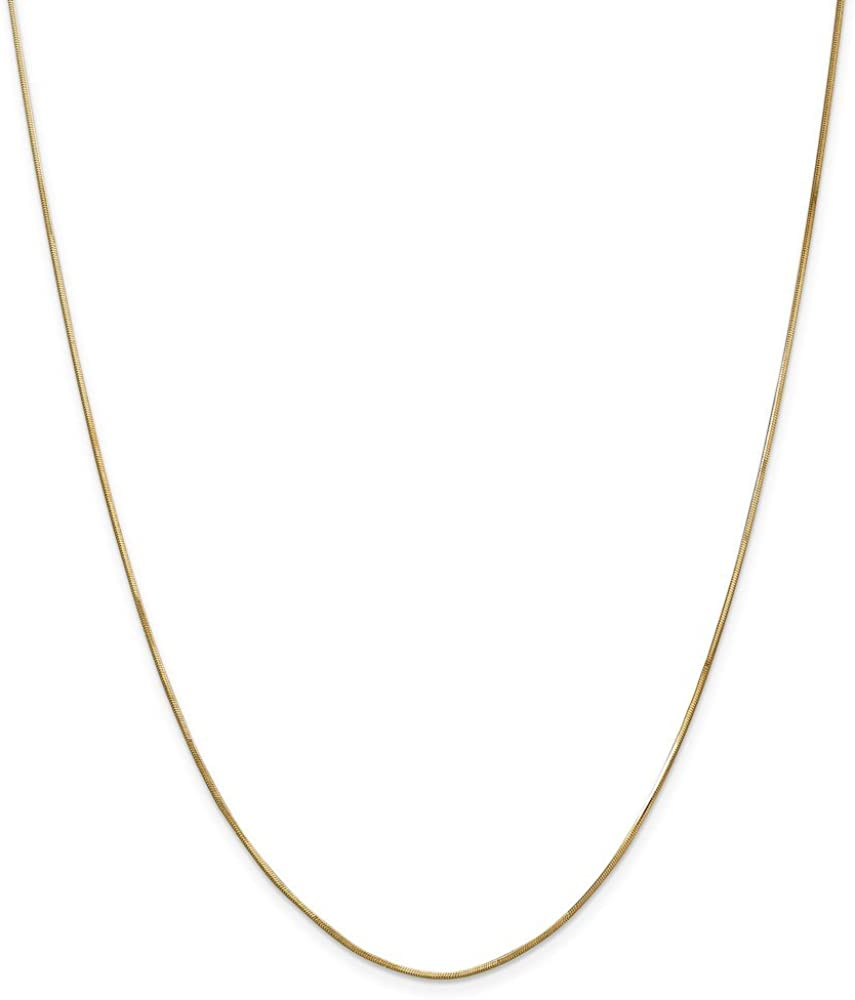 Solid 14k Yellow Gold 1.00mm Octagonal Snake Chain Necklace - with Secure Lobster Lock Clasp