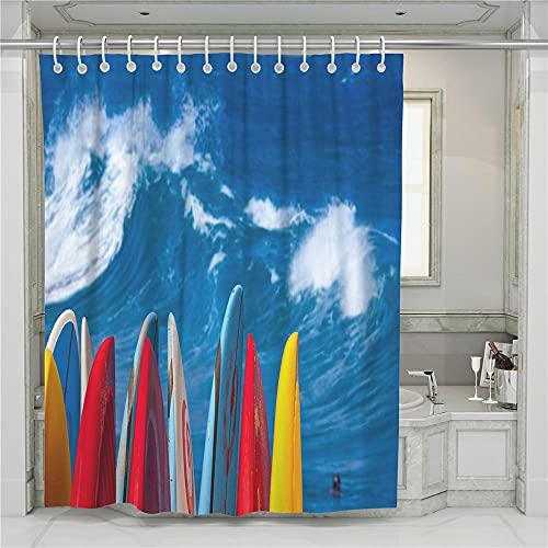 ZDPLL Cortina de Ducha Impresa en 3D Mar Azul y Tabla de Surf Colorida Cortinas de duche em poliéster impermeável, para la decoración del hogar 180x220cm