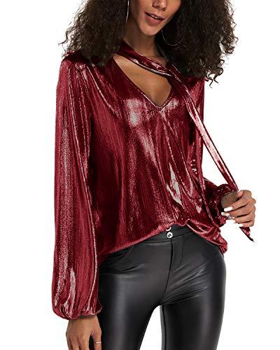 YOINS Sexy Oberteil Damen Glitzer Oberteile Wetlook Langarmshirt für Damen Tshirt V-Ausschnitt Clubwear Partywear Lederlook Rotwein S