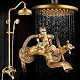 Grifo de baño de estilo europeo antiguo todo cobre retro ducha fría y caliente grifo de baño de estilo europeo