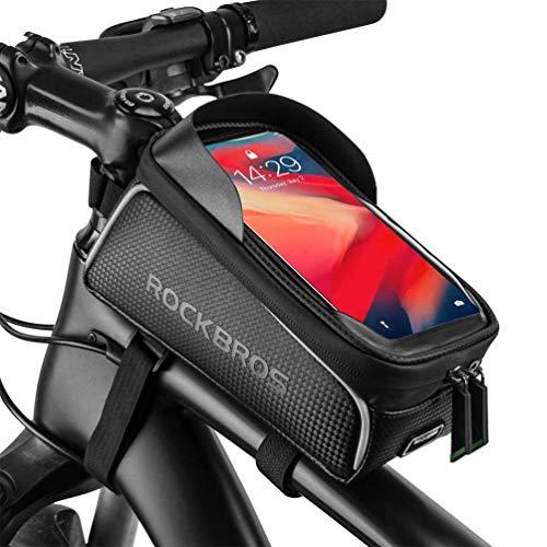 ROCKBROS Fahrrad Wasserdicht Rahmentasche Lenkertasche TPU Touchscreen mit Sonnenblende und Regenschutz Fahrrad Oberrohrtasche für Smartphones bis 6,0 Zoll
