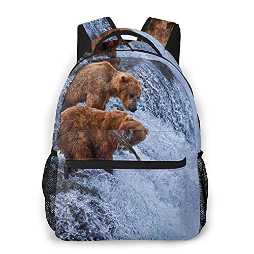 Mochila de viaje para computadora portátil,vida silvestre Osos grizzly pescando en las cascadas del río Cascade Alaska Nature Camp View,Business Mochila antirrobo resistente al agua,delgada y duradera