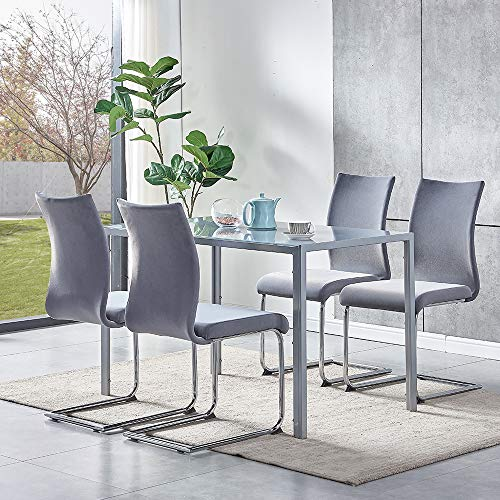 Ansley&HosHo Contemporary Kitchen Grey Glass Table with 4 Velvet Dining Chairs for 4 People Grey Glass Rectangular Dining Table and Chairs Set of 4 Small Apartment Dinette