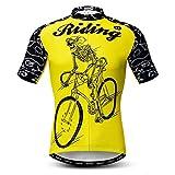 Weimostar Maillot de Ciclismo Hombres Ropa de Bicicleta Maillot de Ciclismo Top Mountain Road MTB Maillot Camisa Manga Corta Equipo Ropa Deportiva Montar en Amarillo XL