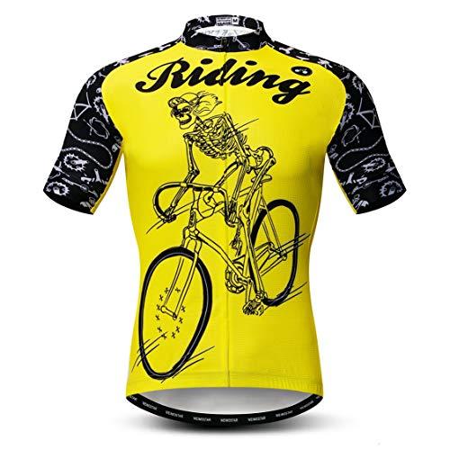 Weimostar Camisetas de Ciclismo para Hombre Camisetas de Ciclismo Ropa de Ciclismo de Manga Corta con Cremallera Completa