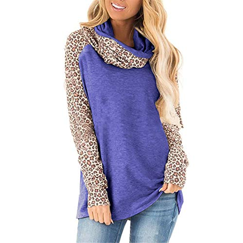 Camicia Donna Elegante Temperamento Accogliente Camicia a Maniche Lunghe con Cuciture Leopardate Primavera e Autunno Allentata Casual Nuova Moda Girocollo Donna T-Shirt XL