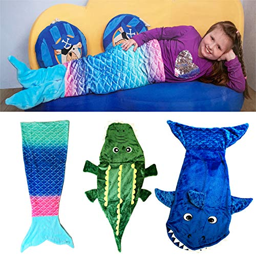 Kinder Schlafdecke Schlafsack Kuscheldecke Sofadecke Hai, Krokodil, Meerjungfrau 100x43cm, Model:Hai