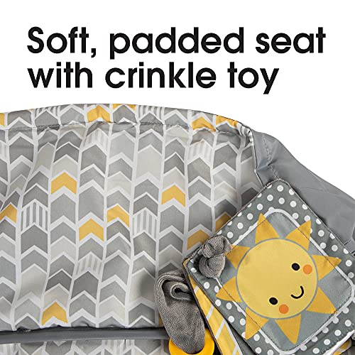 Boppy Shopping Cart and High Chair Cover | Sunshine Gray and Yellow Chevron with Sun Book Toy | 2-Point Safety Belt | Wipeable, Machine Washable | 6-48 months