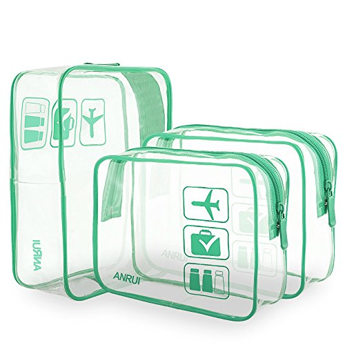 ANRUI Clear Toiletry Bag TSA Approved Travel Carry On Airport Airline Compliant Bag Quart Sized 3-1-1 Kit Travel Luggage Pouch 3 Pack (Lake blue) by ANRUI