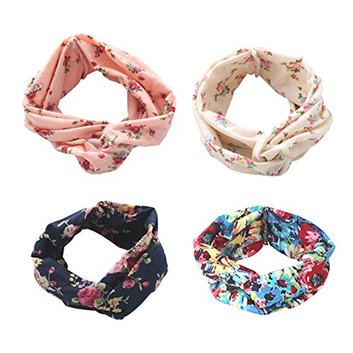 Dreshow Set of 4Women's Elastic Flower-Printed Headbands, 1950Archaistic Women's Cotton-Knitted Soft Twist Turban Head Wrap - -