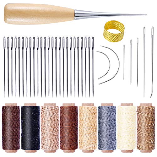 レザークラフト縫製キット 縫い道具セット レザーツール セット 50m 8色 蝋引き糸 縫い針 縫い糸用針 千枚通し 皮革 手作り 初心者キット